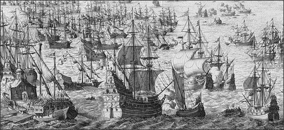 Picture of the English Fleet and the Spanish Amarda